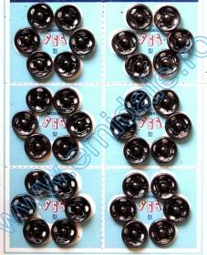 Capse de Cusut, 8 mm, Negru, Nichel (8 folii/cutie)Cod: 555-0 Sewing Snap Fasteners, 10 mm, Black, Nickel (8 sheets/pack)Code: 555-1