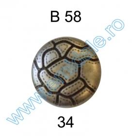 Nasturi Metalizati cu Patru Gauri  S507/40 (100 buc/pachet) Nasture Plastic Metalizat B58, Marimea 34 (144 buc/pachet)