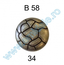 Nasturi Metalizati, cu Picior, din Plastic 21mm (100 bucati/pachet) Cod: 3166  Nasture Plastic Metalizat B58, Marimea 34 (144 buc/pachet)