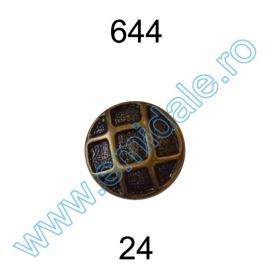 Nasture Plastic Metalizat JU895/40 (100 buc/punga) Metalized Plastic Buttons 644, Size 24 (144 pcs/pack)