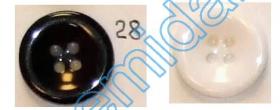 Nasturi cu Patru Gauri 0313-1300/44 (100 buc/punga) Culoare: Alb  Nasturi Plastic cu Patru Gauri 0313-1314/28 (100 bucati/pachet)
